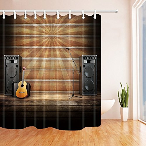 HiSoho Country Music Stage or Singing Decor, Microphone, Guitar and Speakers with Wood Flooring and Sunburst Shower Curtain, Mildew Resistant, Bath Curtains Hooks Included, 71X71 inches - Rust Vinyl Flooring