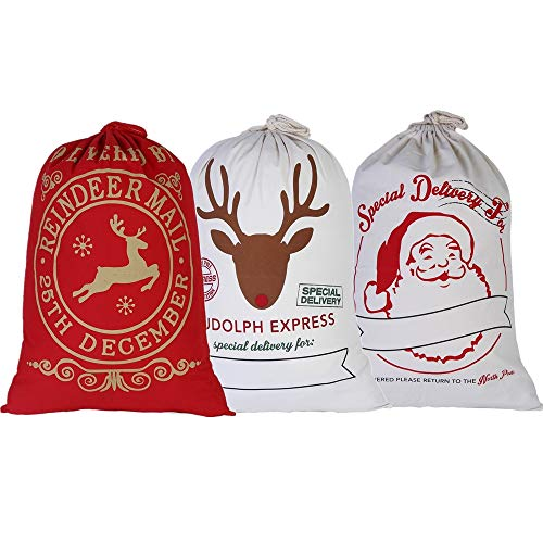 E-FirstFeeling Pack of 3 Cotton Santa Sacks 27.5 X 19.6 Inches Large Drawstring Christmas Bags Gift Sack (3 Bags-Mixed -