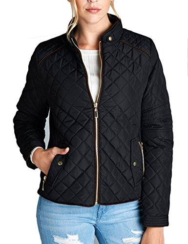 b8ab22c3ad4 KOGMO Womens Quilted Fully Lined Lightweight Zip Up Jacket S-3X ...