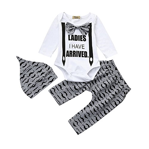 (Bowtie Romper+Mustache Print Pants+Hat 3Pcs Outfits for Toddler Kids Newborn Baby Boys Clothes (Grey, 12-18)