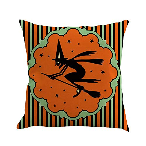 Happy Halloween Pillow Covers 18 x 18 Inch Cotton Linen Funny Letter Print Sofa Home Decor Throw Pillow Case Cushion Covers (E, 18