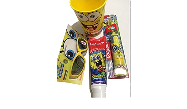Amazon.com: Sponge Bob Powered Toothbrush Plus Toothpaste 4.6oz with a 16 Oz Rinse Cup and Sunglasses 100% Uv Protection: Health & Personal Care