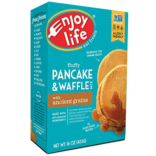 (Enjoy Life Baking Mixes, Soy free, Nut free, Gluten free, Dairy free, Non GMO, Vegan, Pancake + Waffle Mix, 16 Ounce Box)