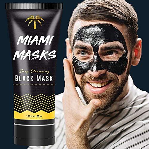 Bamboo Charcoal Peel Off Face Mask (1.69 fl. oz) - Anti-Acne Pore Minimizer and Blackhead Remover Facial Mask for Men - Suitable For All Skin Types - Deep Cleansing and Purifying Mask for Men and Women by Miami Masks