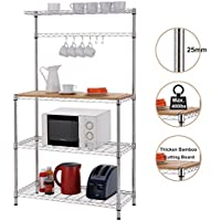 Finnhomy 16x36x61 4-Tiers Adjustable Kitchen Bakers Rack Kitchen Cart Microwave Stand with Chrome Shelves and thicken Bamboo Cutting Board