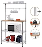 "Best Microwave Cart With Shelfs - Finnhomy 16x36x61"" 4-Tiers Adjustable Kitchen Bakers Rack Kitchen Review"