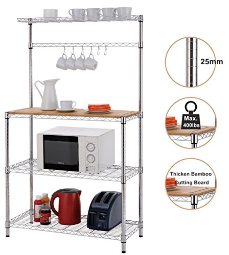 "Finnhomy 16x36x61"" 4-Tiers Adjustable Kitchen Bakers Rack Kitchen Cart Microwave Stand with Chrome Shelves and thicken Bamboo Cutting Board"