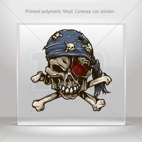 Decal Sticker Skull Pirate car helmet window Boat jet-ski Garage door 6 X 5.9 Inches Vinyl color print 0600 KR743
