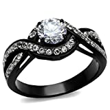 stainless steel ring cz - Women's 1.65 Ct Round Cut AAA Cz Black Stainless Steel Engagement Ring Size 6