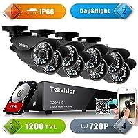 Tekvision H.264 AHD 8CH 720P 1200TVL QR code scan Remote access Surveillance DVR Kit, 8 Pack Day/ Night Vision IR-Cut 720P HD Bullet Camera, 1TB HDD pre-installed- IP66 Waterproof NTSC Cam