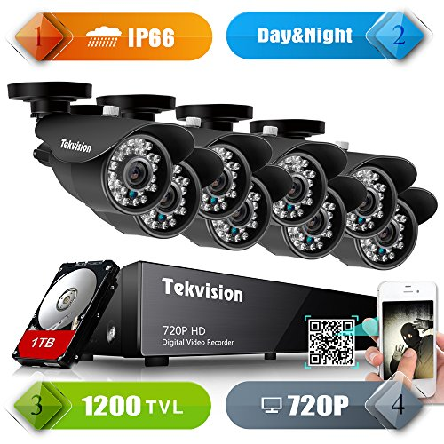 Tekvision H.264 AHD 8CH 720P 1200TVL QR code scan Remote access Surveillance DVR Kit, 8 Pack Day/ Night Vision IR-Cut 720P HD Bullet Camera, 1TB HDD pre-installed- IP66 Waterproof NTSC Cam