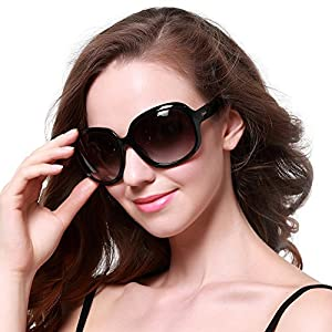 Duco Women's Oversized Polarized Sunglasses 100% UV Protection 3113 Black Frame Gray Lens