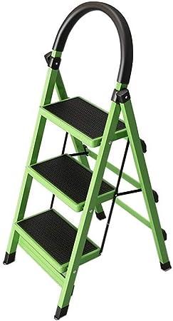 Taburetes escalera Paso Stool 3-Escalera Plegable, portátil Plegable con Mano de Goma Stool Grip, escaleras de Tijera hogar Verdes, 41 × 59 × 113 cm: Amazon.es: Hogar