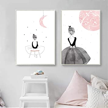 Cadre Chambre Bebe Fille.Nordic Ideas Set De 2 Posters Tableaux Decoratifs Pour Chambre De Bebe Fille Affiches Sans Cadre Ptof001 Xl