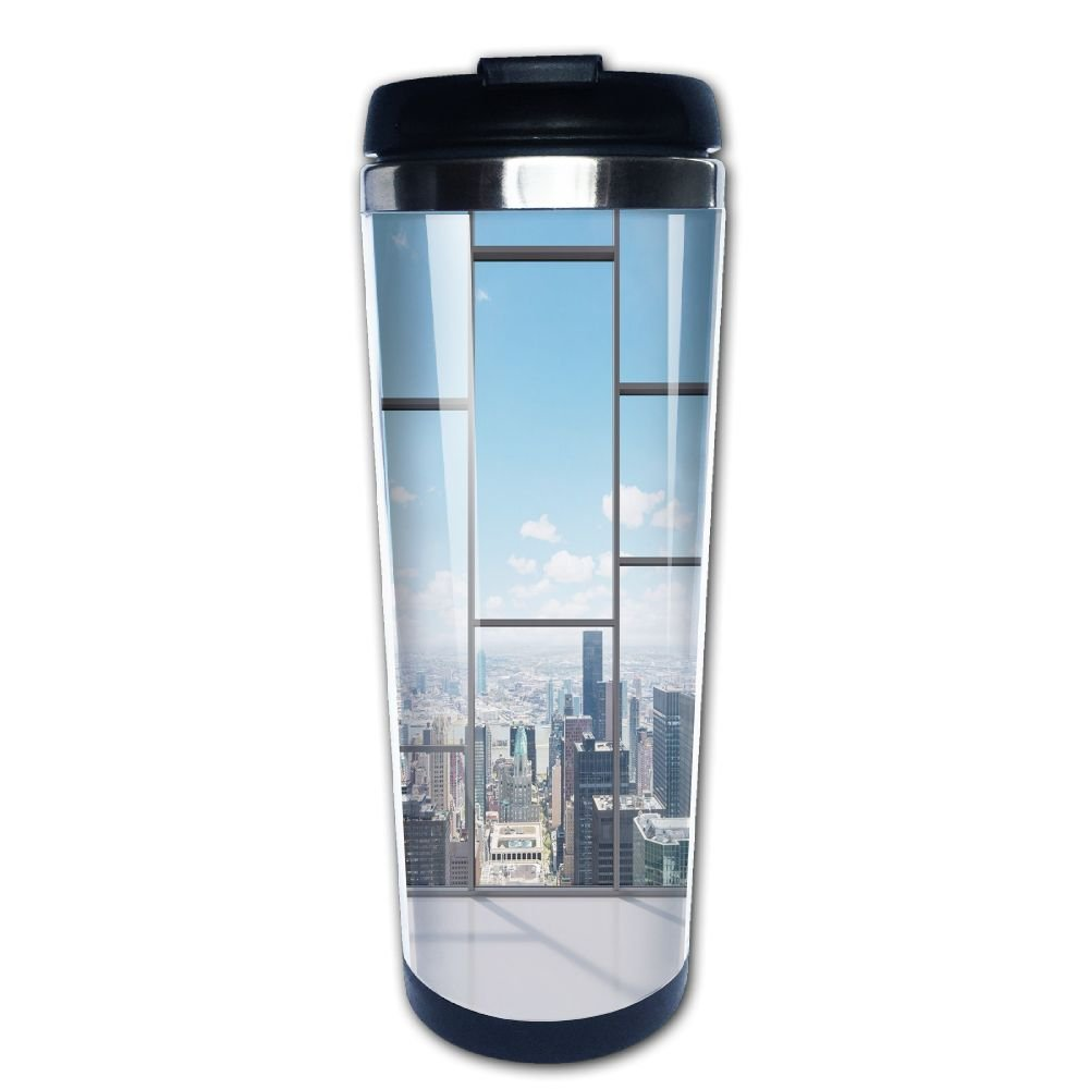 AILIKAFEE Office With Big Wide Windows City Building Skyscrapers View Art Coffe Mug Thermal Cup With Easy Clean Lid 14-Ounce Mug