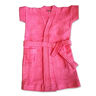 Extra Soft 100% Cotton Premium Quality Baby & Toddlers (0-5yr) Comfortable Bath Robe (2/1-2yr, Pink)