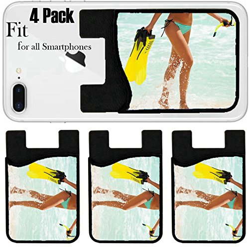 Liili Phone Card holder sleeve/wallet for iPhone Samsung Android and all smartphones with removable microfiber screen cleaner Silicone card Caddy(4 Pack) Tanned legs of girl with fins and mask near s by Liili