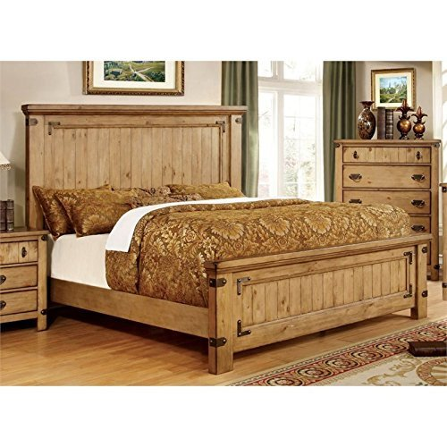 ioneyes of america sesco king panel bed in burnished pine