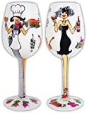 Bottom's Up 15-Ounce Bon Appetit Handpainted Wine Glass