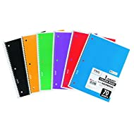 Mead 05512 Spiral Bound Notebook, Perforated, College Rule, 10.5 x 7.5, White, 70 Sheets