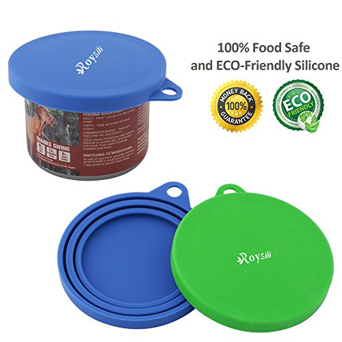 Pet Food Can Lids (Roysili 2 Pack Dog Cat Food Can Cover, BPA Free Silicone Pet Can Cover For Multiple Sizes Dishwasher Safe Can Food Lids Blue + Green)