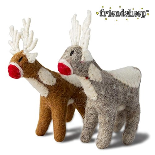 Friendsheep Santa's Reindeer GIFT WRAPPED - Handmade Fair Trade Christmas Wool Ornament by WITH GIFT WRAP - Eco-friendly, Sustainable (1 brown and 1 grey, with gift ()