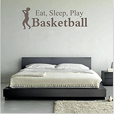 """""""Eat Sleep Play Basketball """" Letter Wall Sticker, Oksale 23.6 × 7.9 Inch, PVC Home Room Decor Removable Applique Papers Mural"""
