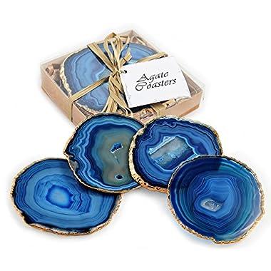 Set of 4 24k Gold Gilt-Edged Blue Agate Coasters
