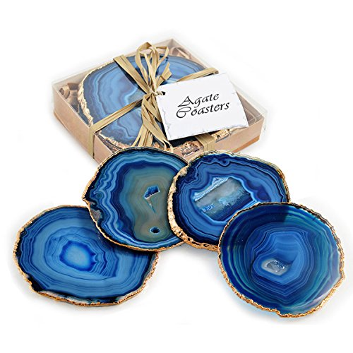 Set of 4 24k Gold Gilt-Edged Blue Agate Coasters by Fossil Gift Shop (Image #4)