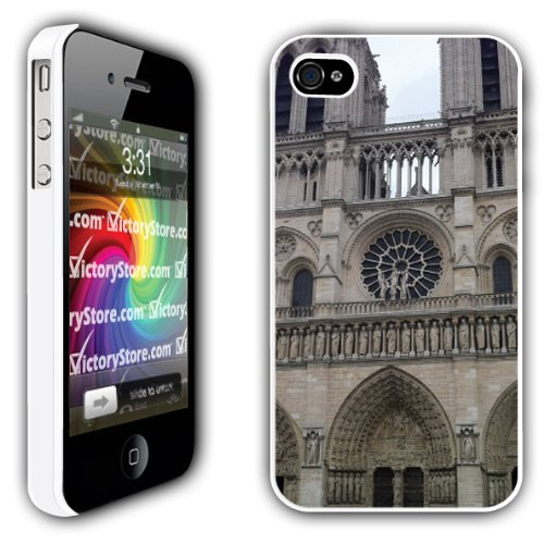 iPhone 4/4s Case - Notre Dame Cathedral (Outside View of Rose Window) - White Protective Hard Case (Notre Dame Iphone 4 Case)