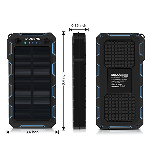X-DNENG Solar Charger, 15000mAh Solar Power Bank,2.4A Output 2-Port External Battery Charger Cellphone Charger with Powerful LED Lights Waterproof for iPhone,Samsung,Tablets and More USB Devices by X-DNENG (Image #5)