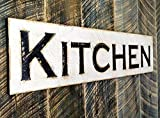 Kitchen Sign 40×10 Horizontal – Carved in a Cypress Board Rustic Distressed Kitchen Farmhouse Style Restaurant Cafe Wooden Wood Wall Art Decoration For Sale