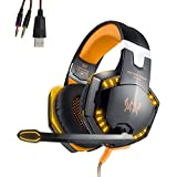 EasySMX Gaming Heaset Comfortable LED 3.5mm Stereo Gaming Over-Ear Headphone with Mic for PC Computer Game (Orange)