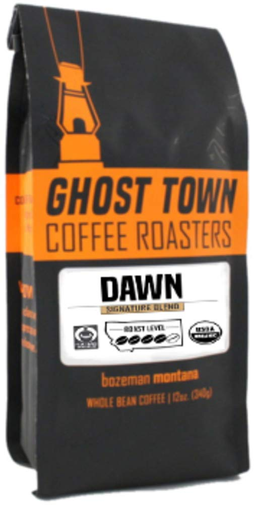 "Ghost Town Coffee Roasters ""Dawn Signature Blend"" Medium Roasted Fair Trade Organic Whole Bean Coffee - 5 Pound Bag"