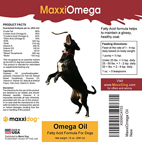 Omega-Oil-for-Dogs-Healthy-Skin-Shiny-Coat-Joint-Health-Boost-No-Fishy-Smell-Omega-3-6-9-Vitamins-A-D-E-and-Biotin--MaxxiOmega-Liquid-Canine-Supplement-Easy-To-Use-Pump