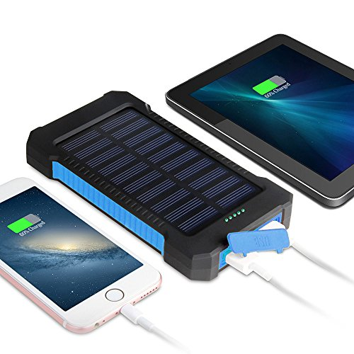 MeliTech Solar Charger 20000mAh Portable Solar Power Bank External Battery Pack Dual USB with LED Flashlight and Compass for Smartphones Tablet Camera (Black& Blue) by MeliTech (Image #1)