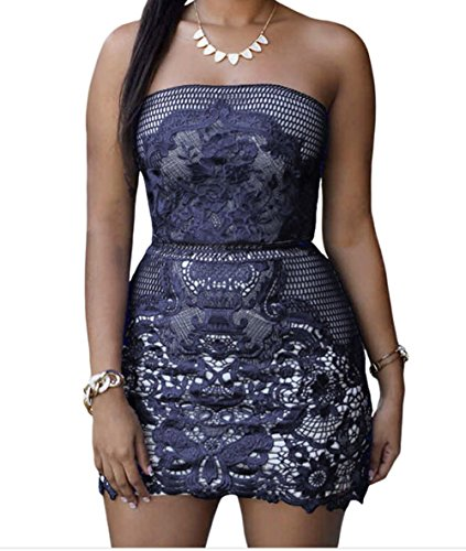 TomYork Dark Blue Strapless Mesh And Placed Lace Mini Dress(Size,S) (Toga Dress Ideas)