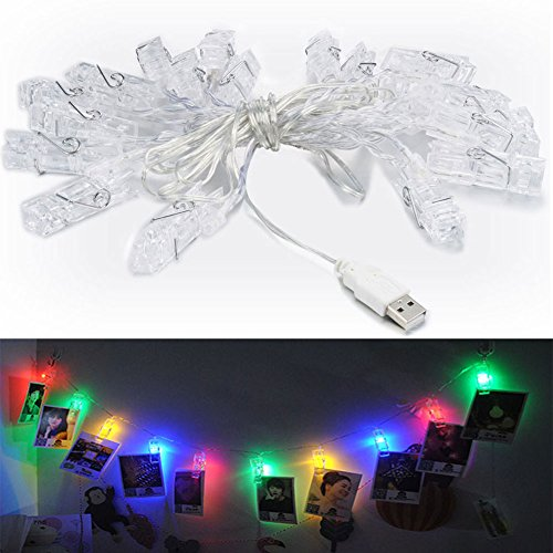 Accmor 16.4ft LED Photo Clip String Lights, USB Lights with 20 Photo Clips for Halloween Decorate Photo Display, Hanging Picture, Note, Artwork (UL Certified, Red, Blue, Green, Orange)