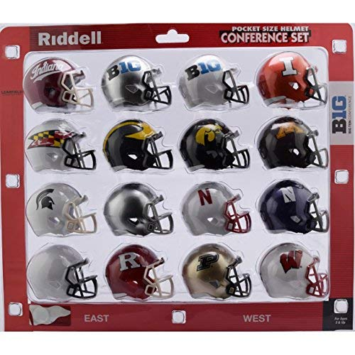 Riddell NCAA Big 10 Helmet Pocket ProBig 10 Conference Set Pocket Pro Speed Style 2018, Team Colors, One Size College Football Team Helmets