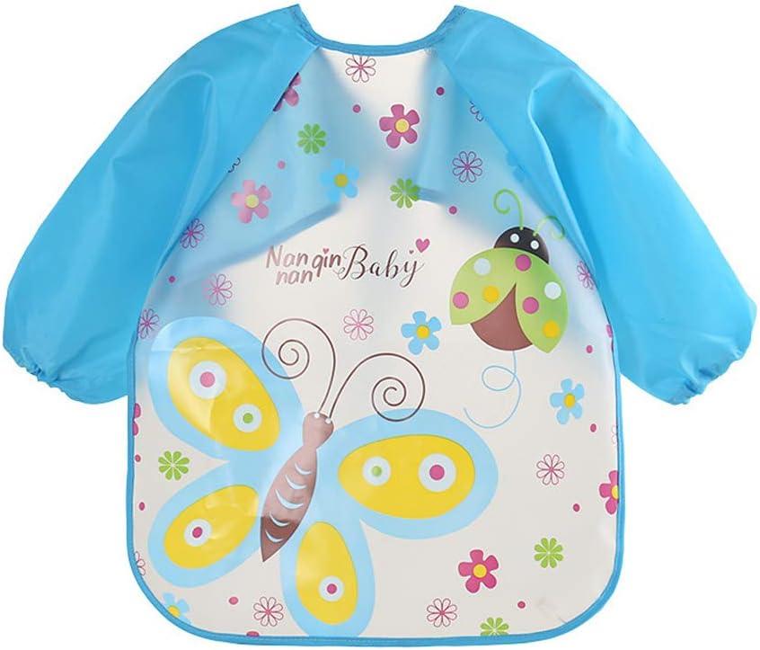 Long Sleeve Bibs Waterproof Blue+Green+Yellow+Pink 4 Pcs Cute Cartoon EVA Baby Bibs Unisex Feeding Bibs Apron for Infant Toddler Boys Girls 6 Months to 3 Years Old
