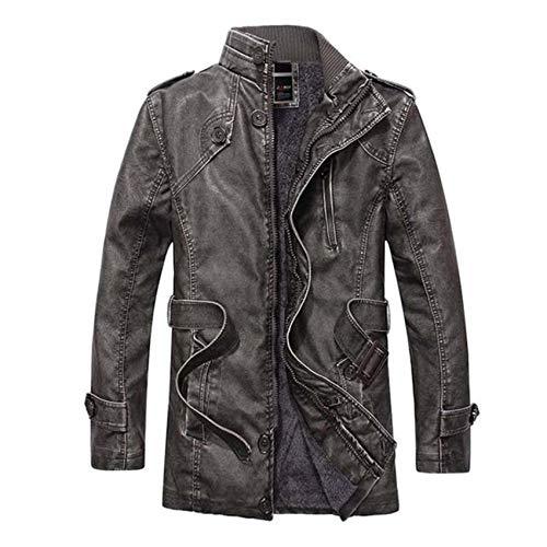 Men Faux Leather Long Coat Fleece Lined Jacket Outwear Parka Size L-4XL Thermal
