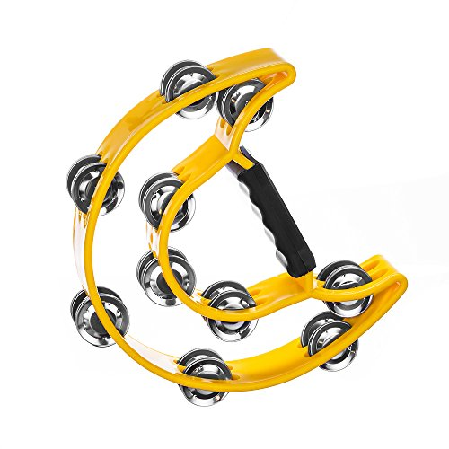 Passion ToolBox's Double Row Tambourine for Kids and Adults - Comfortable Hand Held Percussion Instrument - Great for Choirs (Church) - Percussion Ensembles - Birthday Parties - Drum Circles - Etc.