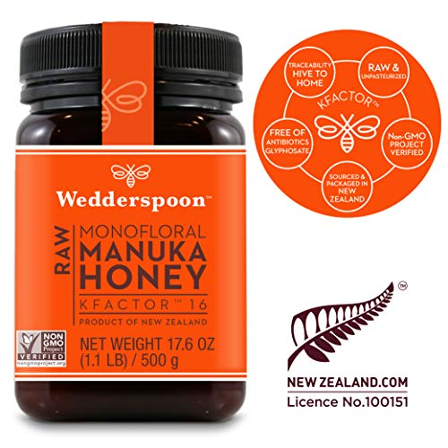 - Wedderspoon Raw Premium Manuka Honey KFactor 16, 17.6 Oz, Unpasteurized, Genuine New Zealand Honey, Multi-Functional, Non-GMO Superfood
