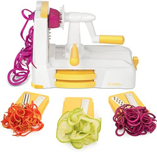 Zestkit Tri-Blade Spiralizer Vegetable Slicer Strongest-and-Heaviest Duty Veggie Pasta & Spaghetti Maker for Low Carb/Paleo/Gluten-Free Meals