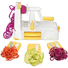COSORI VS-5 Zestkit Vegetable Spiralizer, 1pack, Orange 26 BEAUTIFUL & MULTIFUNCTION:Cheaper than other Spiralizer on the market. Just need 3 simple different blade sets, beautiful fruit or veggie slices, shreds and spirals even noodles can be easily made, such as quick low carb, healthy veggie noodles from firm fruits/veggies like zucchini, apple, onion, carrot, cucumber, cabbage, beet, turnip, rutabaga, radish, potato, sweet potato, squash & more LIFETIME REPLACEMENT & 24H CUSTOMER SERVICE: You can enjoy lifetime and support unconditional free return and 24/7 personal service. Our responsive and helpful support team is always standby to offer help EASY TO USE & CLEAN-UP: A suction cup at the bottom can be fixed to any flat surface stably, such as a granite, quartz, glass or any non-porous surfaces. Comes with an extra brush, easy to hand wash just rinse under the tap and drip dry, and dishwasher safe