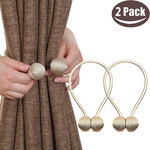 Window Tie Backs - Melaluxe 2 Pack Magnetic Curtain Tiebacks, Decorative Curtain Holdbacks for Window Décor (Beige)