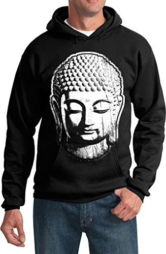 Mens Big Buddha Head Hoodie, Black, XL (Mens Buddha Sweatshirt)