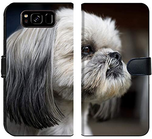 Liili Premium Samsung Galaxy S8 Flip Micro Fabric Wallet Case Image ID: 28931827 The face of a Cute and Newly Groomed Shih Tzu Dog Staring intently Off Camera