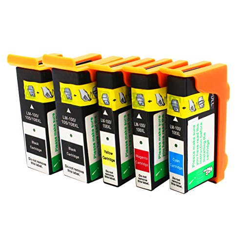 QINK 5 PACK Ink Black Color Cartridge Replacement for Lexmark 100XL pinnacle Pro 901 905 805 705 205