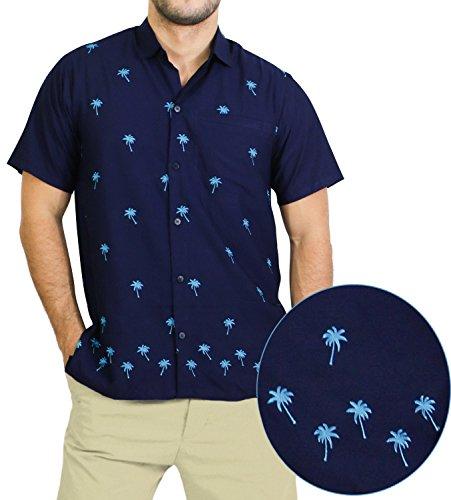 La Leela Hawaiian Shirt Men Short Sleeve Aloha Beach party Rayon L_Blue N_Blue L Valentines Day Gifts 2017